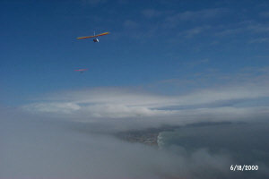 Flying over clouds at Fort Funston